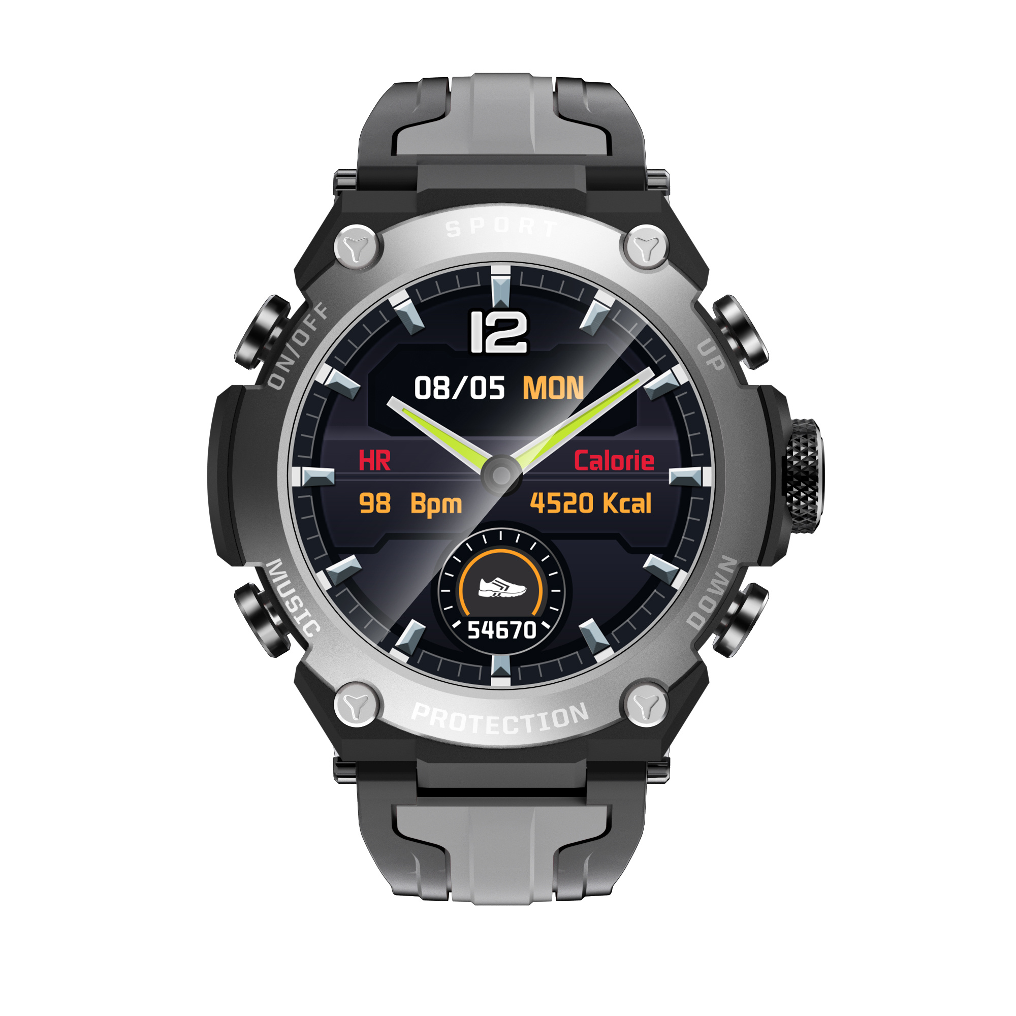 Outdoor sports smart watches, multiple sports, weather, health monitoring, heart rate monitoring, remote camera music control