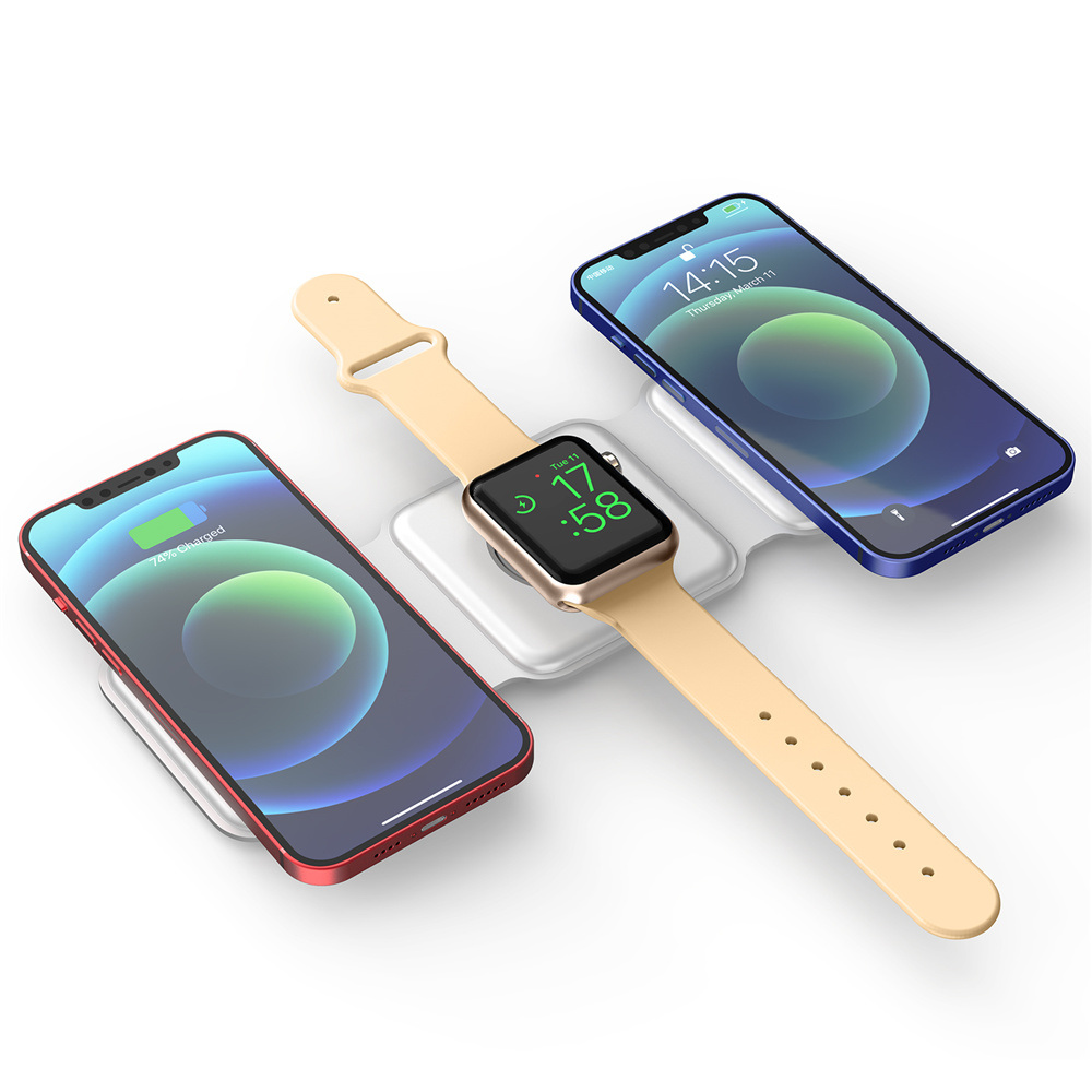 15w 3 in 1 Magnetic Magnet Wireless Portable Charger Stand for Mobile Phone Airpods Smart Watch Apple iPhone 12