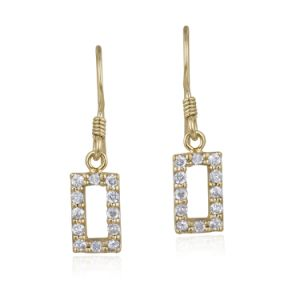 18K Gold over Sterling Silver CZ Open Rectangle Dangle Earrings