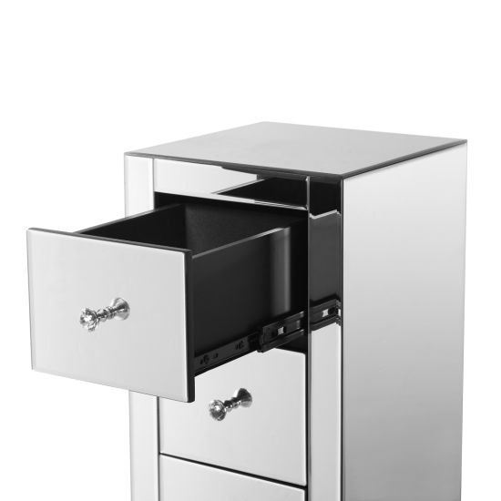 dropship Mirrored Nightstand End Tables with 2/3/4-Drawer, Silver Modern Beside Table, Mirror Accent Side Table for Bedroom, Living Room