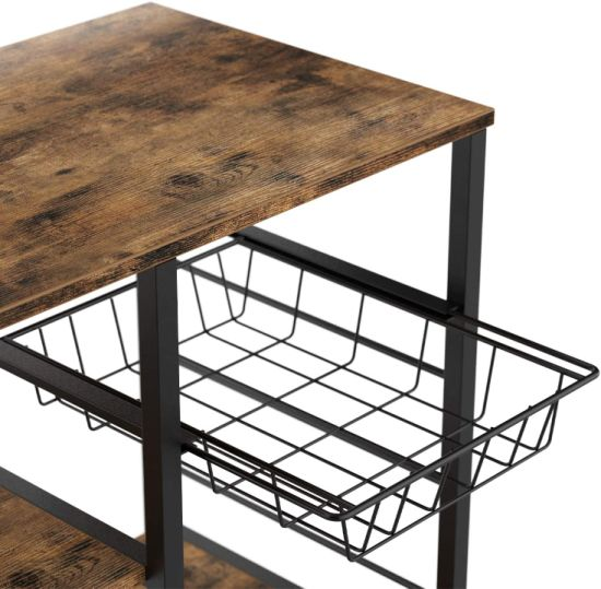 dropship 3-Tier Industrial Kitchen Baker's Rack Utility Microwave Oven Stand Storage Cart Workstation Shelf with 10 Hooks