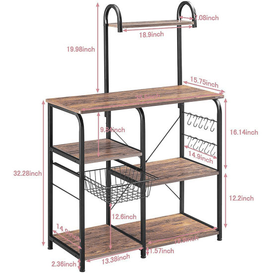 "dropship Free shipping Vintage Kitchen Baker's Rack Utility Storage Shelf 35.5"" Microwave Stand 3-Tier+4-Tier Shelf for Spice Rack Organizer Workstation with 10 Hooks"