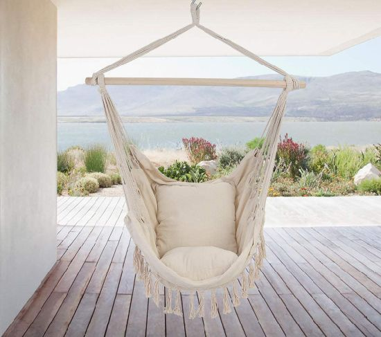 dropship Tassel Hammock Chair Hanging Rope Swing Seat with 2 Cushions