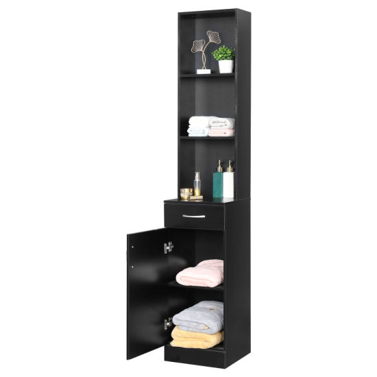 dropship FCH MDF With Triamine One Door One Drawer Three Compartments High Cabinet Bathroom Wall Cabinet Black RT