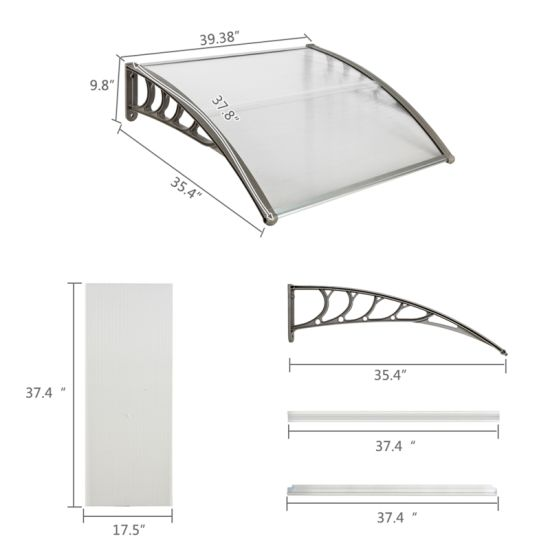 """dropship 40""""x 40"""" Outdoor Front Door Window Awning Patio Canopy Rain Cover UV Protected Eaves RT"""