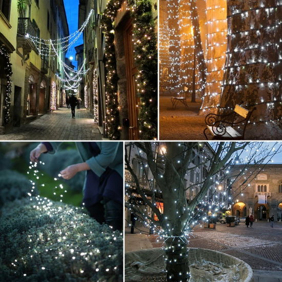 dropship White 100 LED Solar String Fairy Light Christmas Party RT