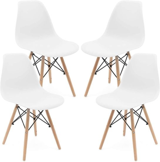 dropship Set of 4 Modern Style Dining Chair, Shell Lounge Plastic Chair for Kitchen, Dining, Bedroom, Living Room Mid-Century Modern Side Chairs with Wooden Walnut Legs