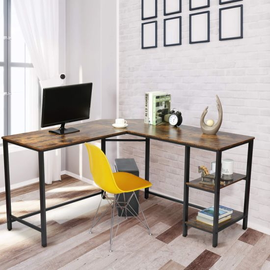 dropship L-Shape Desk with Storage Shelves