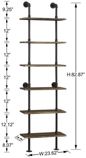 dropship Free shipping Industrial 6-Tier Modern Ladder Shelf Bookcase, Vintage Metal Pipes and Wood Shelves, Rustic Display Bookshelf for Storage Collection,Retro Brown  YJ