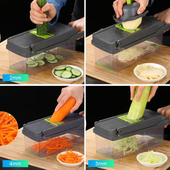 dropship Free shipping16 sets Vegetable Slicer Chopper Food Kitchen Onion Potato Peeler Manual Multifunction for   Thanksgiving gifts, Christmas gifts, New Year's gifts