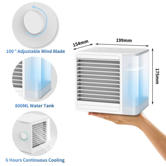 dropship Portable Air Conditioner Fan, 3 in 1 Personal Air Cooler and Humidifier, Quiet USB Air Cooler Desk Fan with 2 Speeds and LED Light, Mini Purifier for Home Room Office RT
