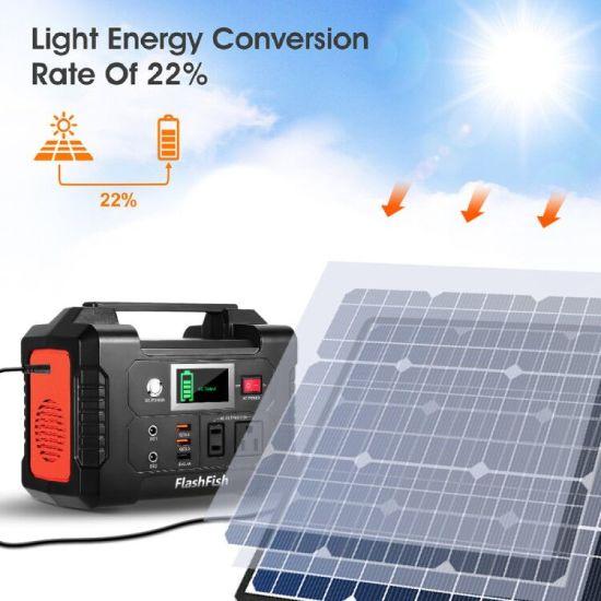 dropship 200W Portable Power Station, FlashFish 40800mAh Solar Generator with 50W 18V Portable Solar Panel, Flashfish Foldable Solar Charger with 5V USB 18V DC Output