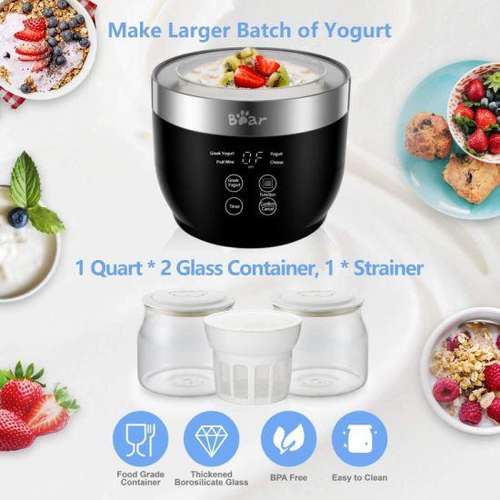 dropship Yogurt Maker, Yogurt Maker Machine with Stainless Steel Inner Pot, Greek Yogurt Maker with Timer Control, Automatic Digital Frozen Yogurt Maker with 2 Glass Jars 1 Quart and Strainer for Home Organic