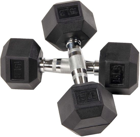 dropship BalanceFrom Rubber Encased Hex Dumbbell Single DB15S