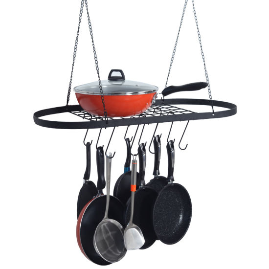 dropship Pot and Pan Rack for Ceiling with Hooks Decorative Wall Mounted Storage Rack