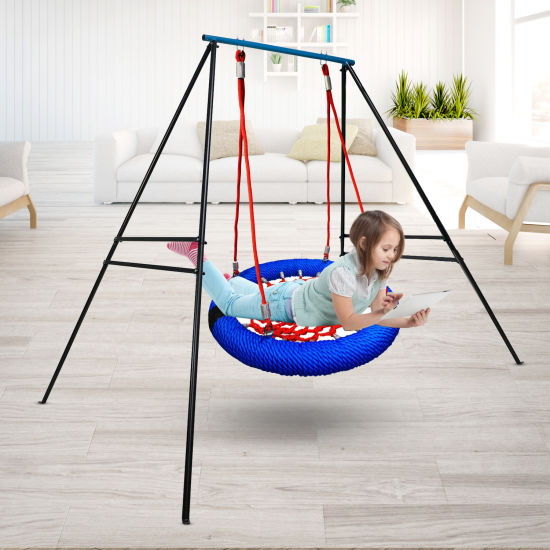 dropship Swing Frame, New Upgraded A-Frame Swing Stand with Ground Nail, Heavy Duty Metal Swing Frame, Fits for Most Swings & Yoga Swing, Anti-Rust and Good Stability