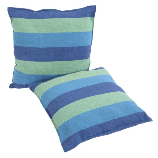 dropship Free shipping Hammock Chair Distinctive Cotton Canvas Hanging Rope Chair with Pillows Blue YJ