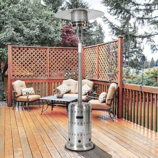 dropship Upland Outdoor Propane Patio Heater with Hollow Pattern on Tank house,Stainless Steel, with two wheels and Hose Set,Free Cover Included,Pole in two pieces(upper and bottom),ETL Certificate