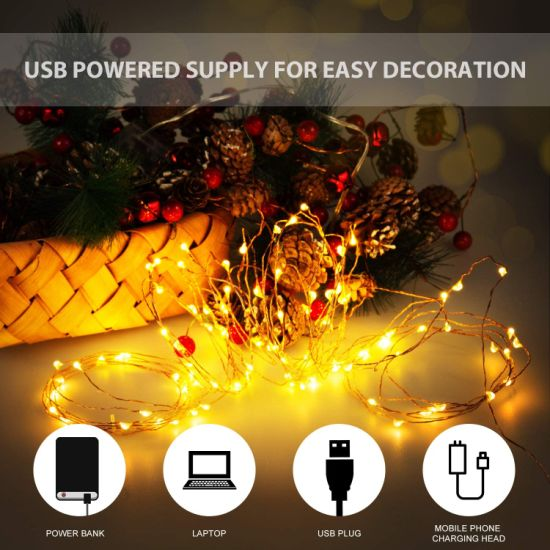 dropship 10M 100 LEDs Waterproof USB Copper Wire Christmas Decoration String Light Garden Courtyard String