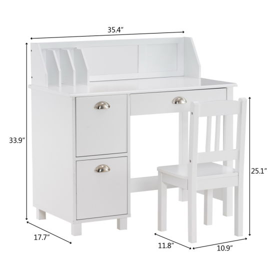 dropship Spray Paint Student Table and Chair Set B, White (90*46.5*81cm) YJ