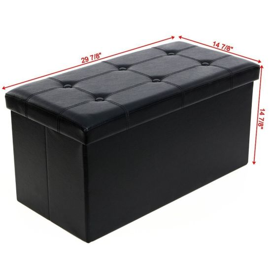 """dropship 30"""" Folding Storage Ottoman Bench, Faux Leather Footrest for Living Room, End of Bed Bench with Padded Seat RT"""