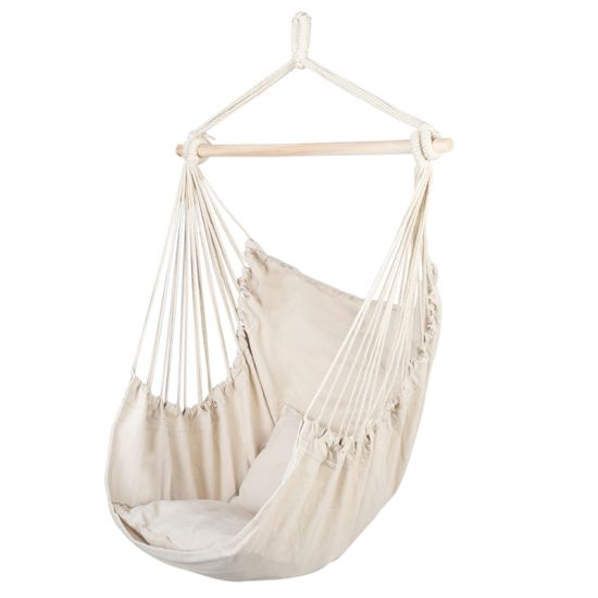 dropship Hammock Chair Distinctive Cotton Canvas Hanging Rope Chair with Pillows Beige