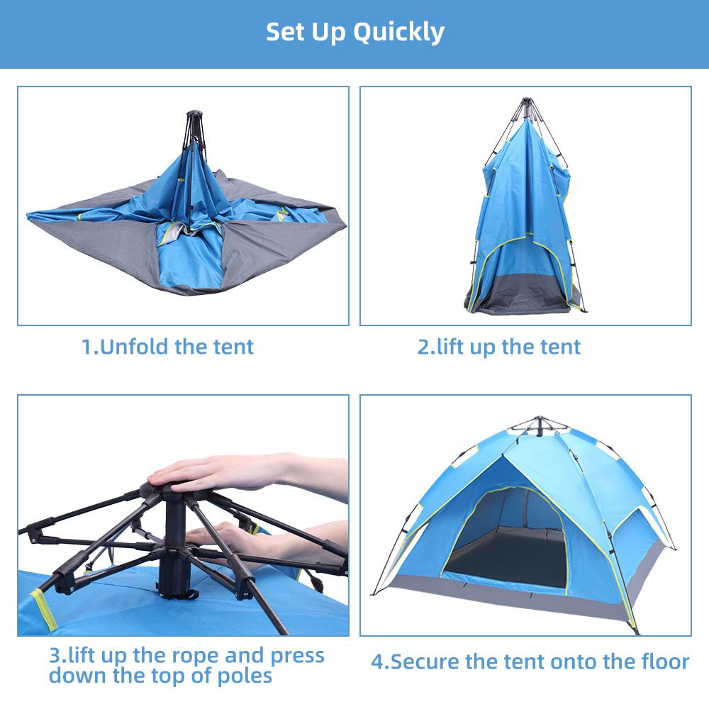 Double-Deck Tow-Door Hydraulic Automatic Tent Build Outdoor Tent Blue