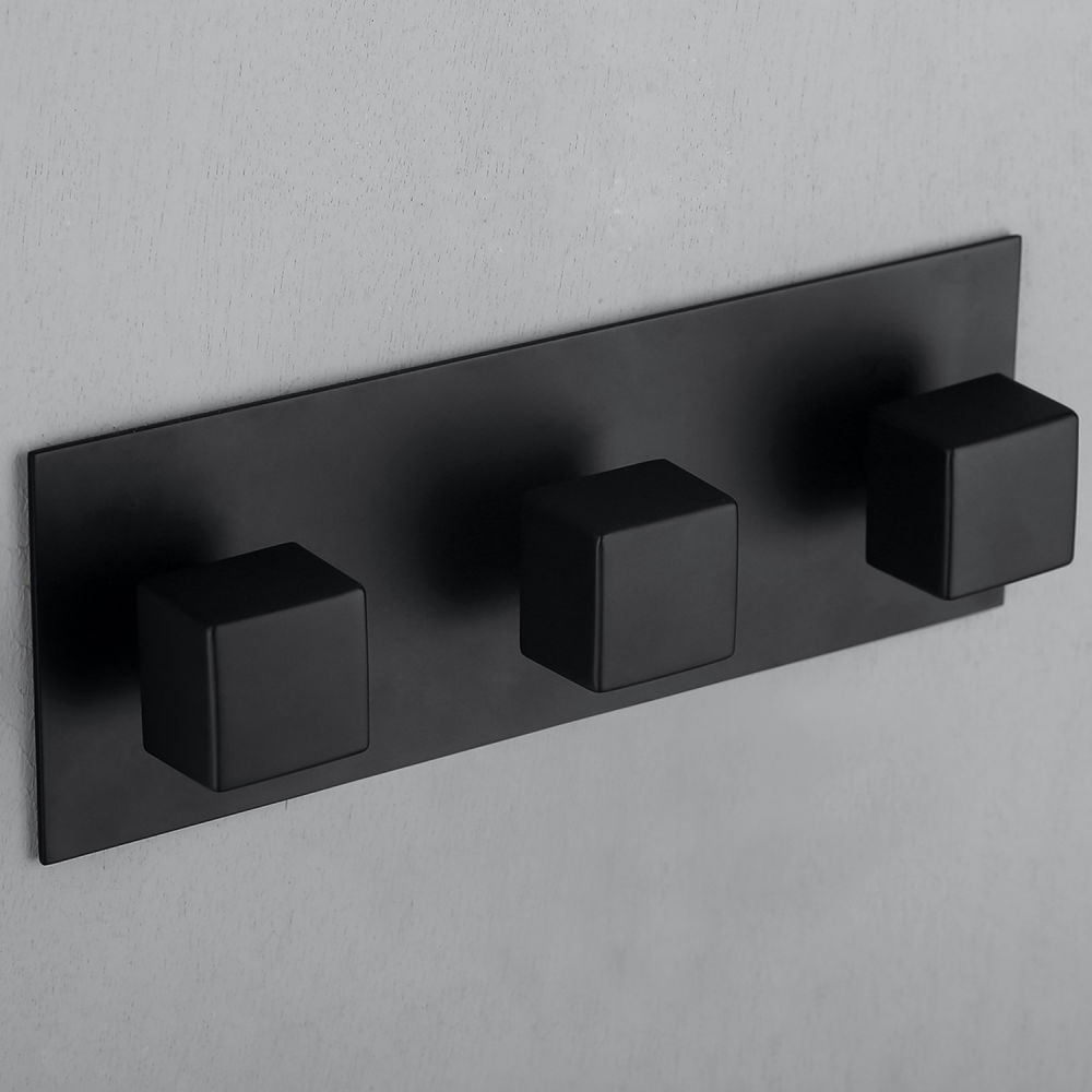 dropship RBROHANT 2 Functions Complete Shower Fixtures, 3 Knob Handles Complete Shower Systems, Matt Black Shower Combo RCS85009MB