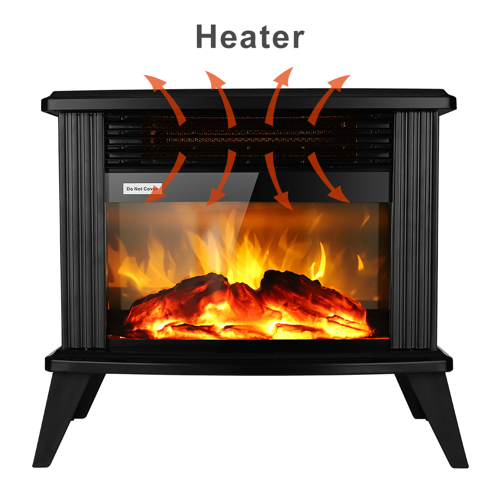 dropship  1500w Electric Fireplace Stove, Freestanding Stove Heater with Realistic Flame Overheating Safety Protection for Small Spaces Portable Fake Firewood Infrared Heater XH